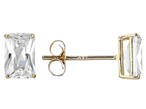 White Cubic Zirconia 14k Yg Earrings 1.35ctw