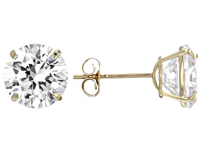 White Cubic Zirconia 14k Yg Earrings 4.00ctw