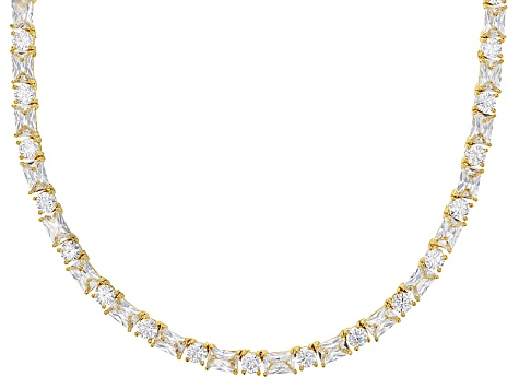 white cubic zirconia 18k yg over sterling silver necklace 65.95ctw