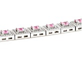Pink And White Cubic Zirconia Rhodium Over Sterling Silver Bracelet 11.04ctw