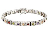 brown green purple white red cubic zirconia rhodium over sterling bracelet 10.08ctw