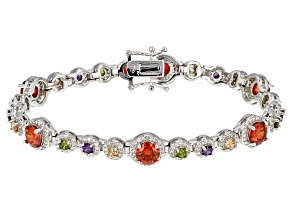 White Red Green Purple Brown Cubic Zirconia Rhodium Over Sterling Silver Bracelet 24.51ctw