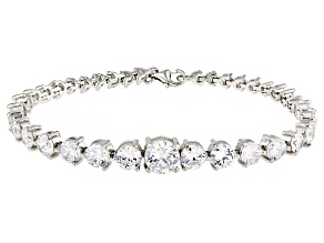 white cubic zirconia rhodium over sterling silver bracelet 23.34ctw