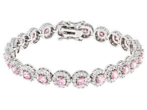 pink and white cubic zirconia rhodium over sterling silver bracelet 16.14ctw
