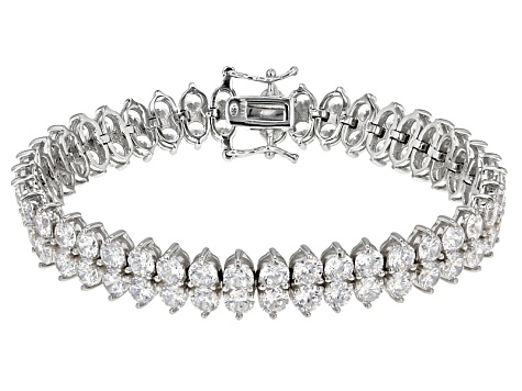 white cubic zirconia rhodium over sterling silver bracelet 35.26ctw