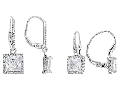 White Cubic Zirconia Rhodium Over Sterling Silver Earrings Set Of 2 8.02ctw