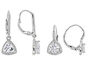 White Cubic Zirconia Rhodium Over Sterling Silver Earrings Set Of 2 6.13ctw