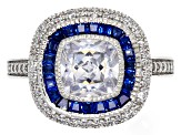 Lab Blue Spinel And White Cubic Zirconia Rhodium Over Sterling Silver Ring 3.20ctw