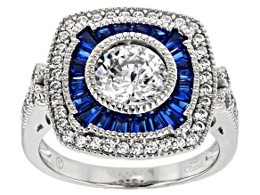 Blue and White Cubic Zirconia Rhodium Over Sterling Silver Ring 3.25ctw
