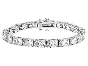white cubic zirconia rhodium over sterling silver bracelet 37.00ctw
