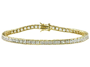 White Cubic Zirconia 18k Yellow Gold Over Sterling Silver Bracelet 13.00ctw