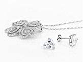 White Cubic Zirconia Rhodium Over Sterling Pendant With Chain and Earrings 8.00ctw