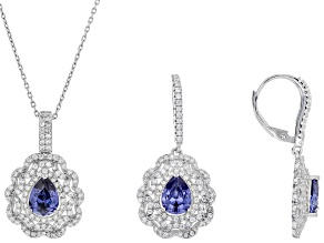 Blue and White Cubic Zirconia Rhodium Over Sterling Silver Pendant With Chain and Earrings 9.50ctw