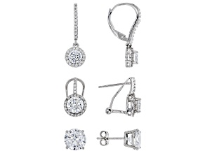 White Cubic Zirconia Rhodium Over Sterling Silver Earrings Set of 3 12.35ctw