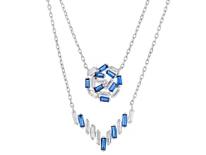 Blue Synthetic Spinel and White Cubic Zirconia Rhodium Over Sterling Silver Necklace 3.00ctw