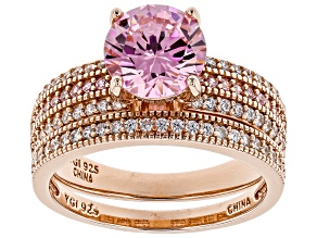 Pink and White Cubic Zirconia 18k Rose Gold Over Sterling Silver Ring With Band 4.25ctw
