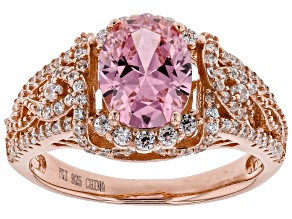Pink and White Cubic Zirconia 18k Rose Gold Over Sterling Silver Ring 3.93ctw
