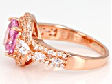 Pink and White Cubic Zirconia 18k Rose Gold Over Sterling Silver Ring 6.25ctw