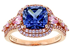 Pink and Blue Cubic Zirconia 18k Rose Gold Over Sterling Silver Ring 6.25ctw