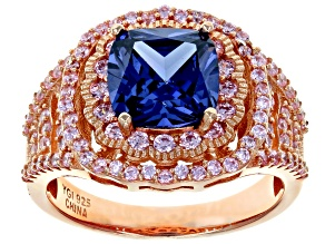 Blue And Pink Cubic Zirconia 18k Rg Over Sterling Silver Ring 5.50ctw