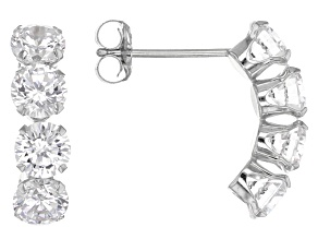 White Cubic Zirconia 14k Wg Earrings 3.27ctw