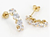 White Cubic Zirconia 14k Yg Earrings 3.27ctw