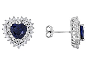 Lab Created Sapphire and White Cubic Zirconia Rhodium Over Sterling Silver Heart Earrings 4.10ctw