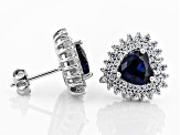 Lab Created Sapphire and White Cubic Zirconia Rhodium Over Sterling Silver Earrings 4.10ctw