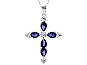 Beautiful Faith ® lab created sapphire & white cubic zirconia rhodium over silver pendant w/ chain