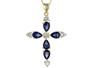 lab created sapphire & white cubic zirconia 18k yellow gold over silver pendant w/ chain