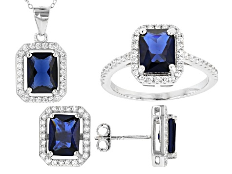 Lab Created Sapphire and White Cubic Zirconia Rhodium Over Sterling Jewelry Set 6.00ctw