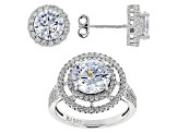 White Cubic Zirconia Rhodium Over Sterling Silver Ring and Earrings 6.75ctw
