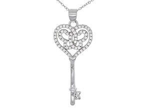 White Cubic Zirconia Rhodium Over Silver Butterfly Key Pendant With Chain 0.60ctw