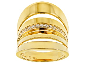 white cubic zirconia 18K Yellow Gold Over Sterling Silver Ring 0.35ctw