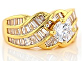 White Cubic Zirconia 18k Yellow Gold Over Sterling Silver Ring 13.18ctw