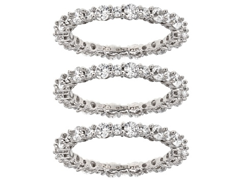 White Cubic Zirconia Rhodium Over Sterling Silver Rings Set of 3 9.36ctw