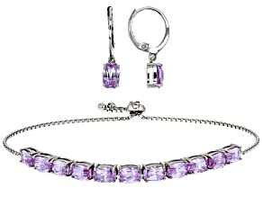Purple Cubic Zirconia Rhodium Over Sterling Silver Jewelry Set 19.11ctw