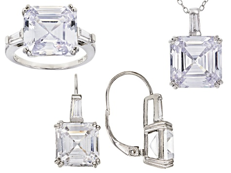 white cubic zirconia rhodium over sterling silver jewelry set 40.65ctw