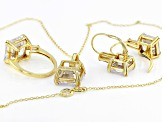 white cubic zirconia 18k yellow gold over sterling silver jewelry set 40.65ctw