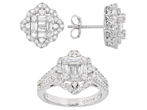 White Cubic Zirconia Rhodium Over Sterling Silver Ring And Earrings 3.08ctw