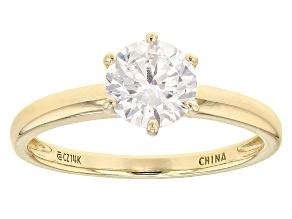 White Cubic Zirconia 14k Yellow Gold Ring 2.25ctw