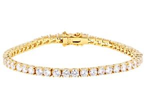White Cubic Zirconia 18k Yellow Gold Over Sterling Silver Bracelet 15.00ctw