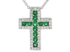 Green Nanocrystal And White Cubic Zirconia Rhodium Over Sterling Pendant With Chain 1.54ctw
