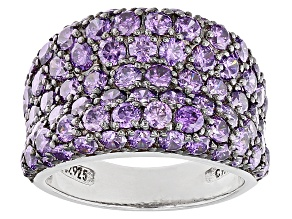 Purple Cubic Zirconia Black And White Rhodium Over Sterling Silver Ring 8.73ctw
