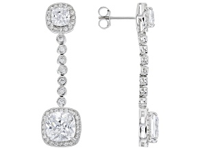 White Cubic Zirconia Rhodium Over Sterling Silver Earrings 11.70ctw