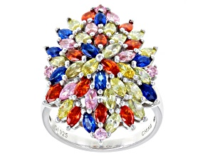 yellow orange pink cubic zirconia blue synthetic spinel rhodium over sterling ring 6.75ctw