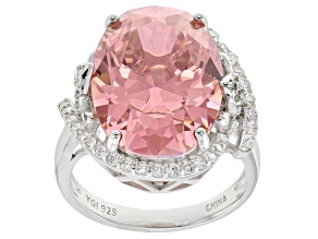 Pink And White Cubic Zirconia Rhodium Over Sterling Silver Ring 20.35ctw