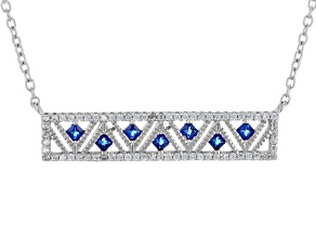 Lab Blue Spinel And White Cubic Zirconia Rhodium Over Sterling Necklace 1.65ctw