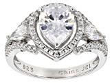 white cubic zirconia rhodium over sterling silver ring 4.66ctw