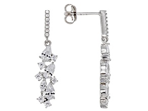 White Cubic Zirconia Rhodium Over Sterling Silver Earrings 3.95ctw